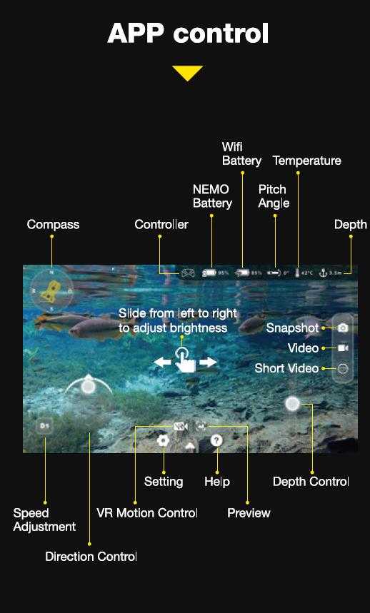 Aquarobotman Nemo Underwater Robot Underwater Drone App Control