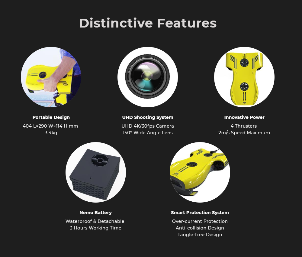Aquarobotman Nemo Underwater Robot Underwater Drone Distinctive Features
