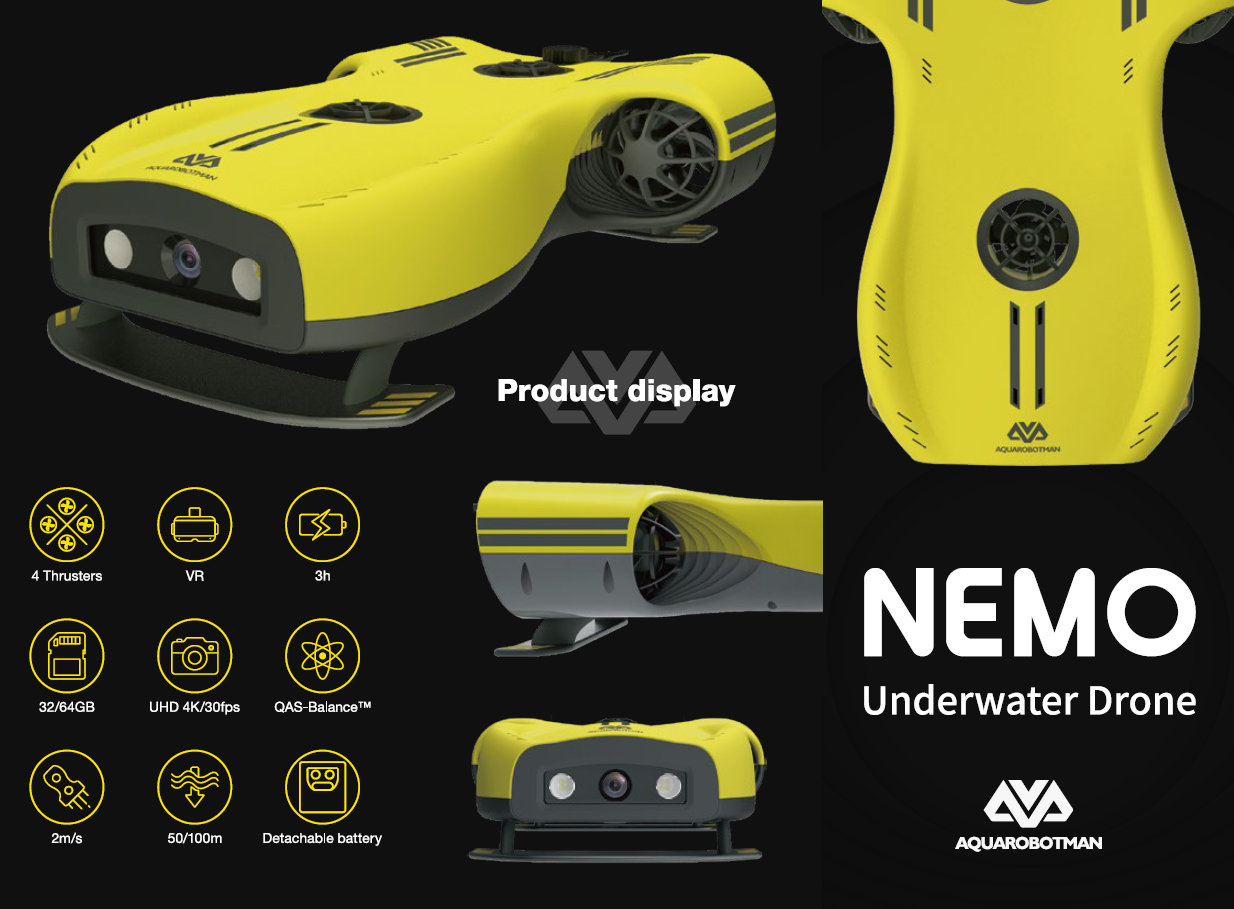 Aquarobotman Nemo Underwater Robot Underwater Drone Product Display