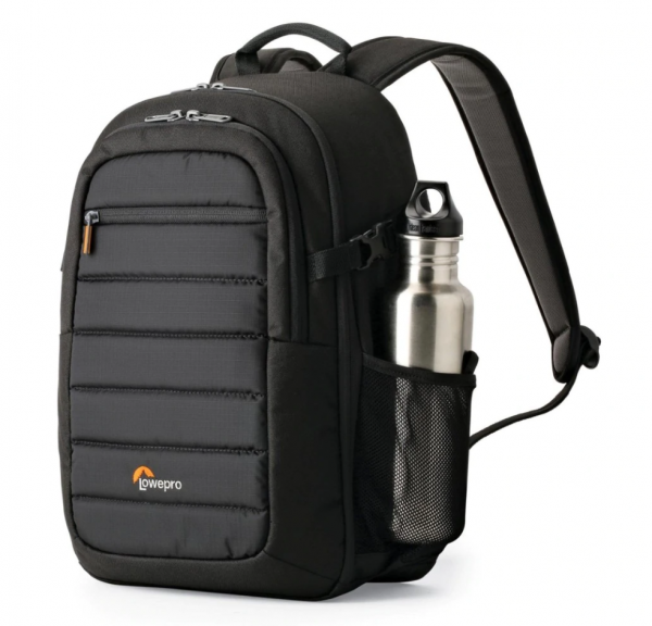 Lowepro Tahoe BP 150 - Backpack for Camera Tablet Drone - Side View with bottle