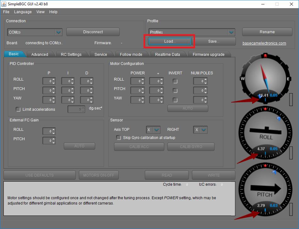 SwellPro PL3 Camera Calibration - BaseCam Loading Profile