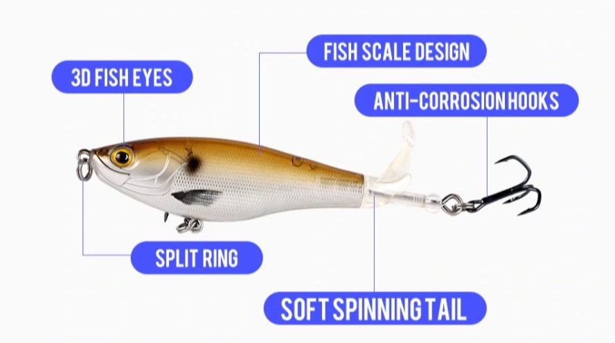 Finish-Tackle Whopper Plopper Fishing Lure - available colors - parts