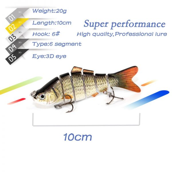 Multi Jointed 6 Segments Fishing Lure - 20g 10cm num6 hooks 3d eyes