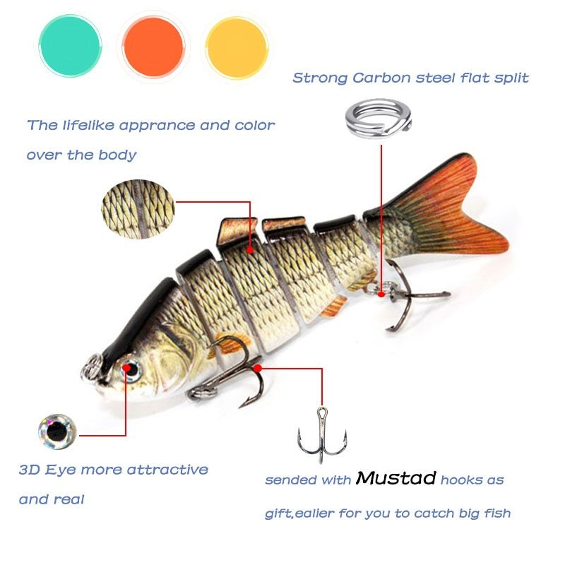 Multi Jointed 6 Segments Fishing Lure - strong carbon steel split
