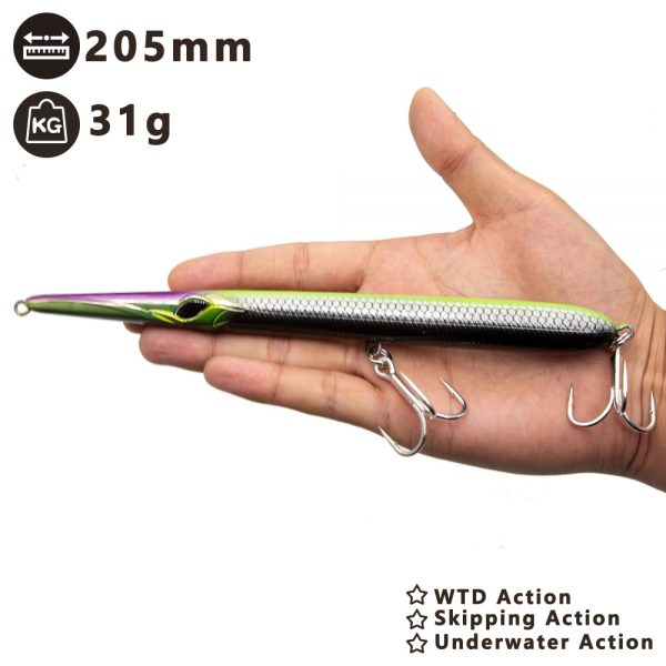 Needlefish-needle-fishing-lure-long-casting-pencil-stickbait-floating-sinking-205mm-31-36g-skipping-garfish_WTD-underwater-action