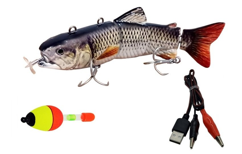 Animated Lute Electric Lure Robotic Lure 5-12inch-Electric-Fishing-Lure-USB-Charging-Bait-4Section-Swimbait-Crankbait-Pesca-Tackle-Vivid-Fish_1