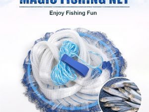 Magic Fishing Net - Blue Handle Cast Net for fishing - Catch Live bait