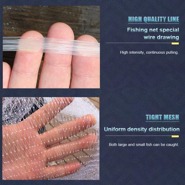 Magic Fishing Net - Blue Handle Cast Net for fishing - Catch Live bait - high quality line - tight mesh
