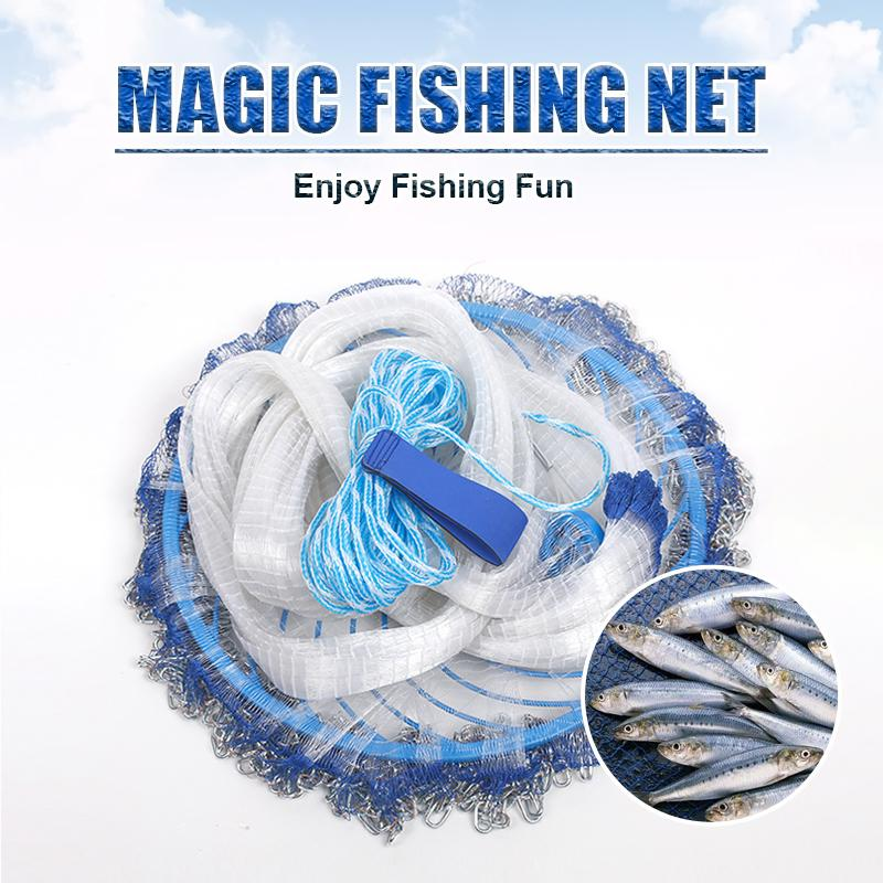 Magic Fishing Net - Blue Handle Cast Net for fishing - Catch Live bait
