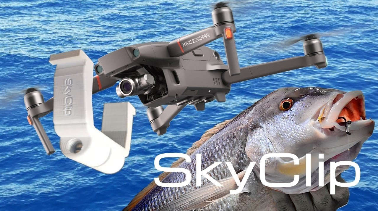 SkyClip for Mavic - Bait dropping device - Drone fishing - Installed on DJI Phantom - Fly in the air with a fish
