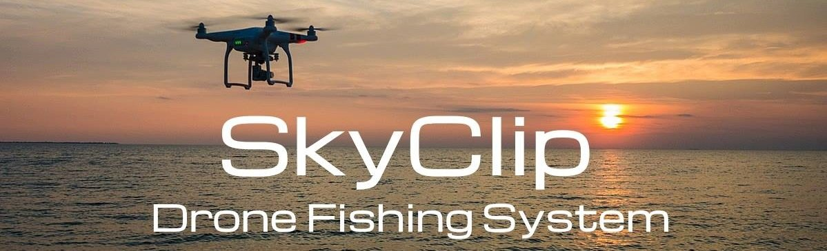 SkyClip for Phantom - Bait dropping device - Drone fishing - Installed on DJI Phantom - Fly in the air banner