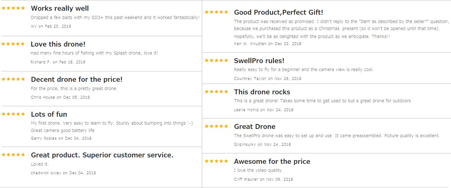 SwellPro SplashDrone 3+ testimonials