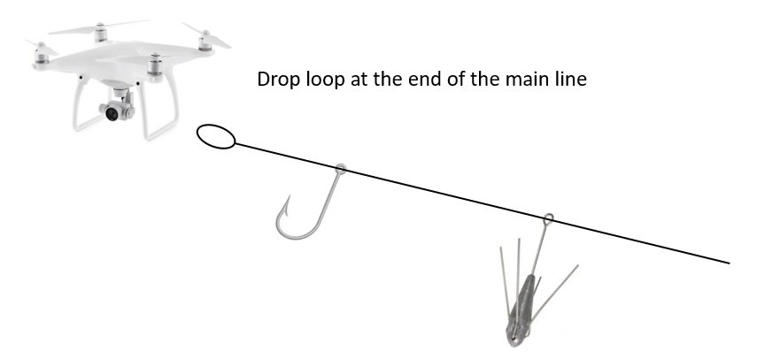 Drone Fishing Rig Setup - Drop Loop at the end of the fishing line