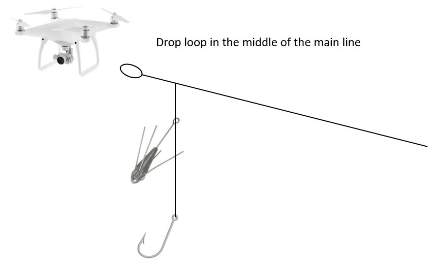 Drone Fishing Rig Setup - Drop Loop in the middle of the fishing line