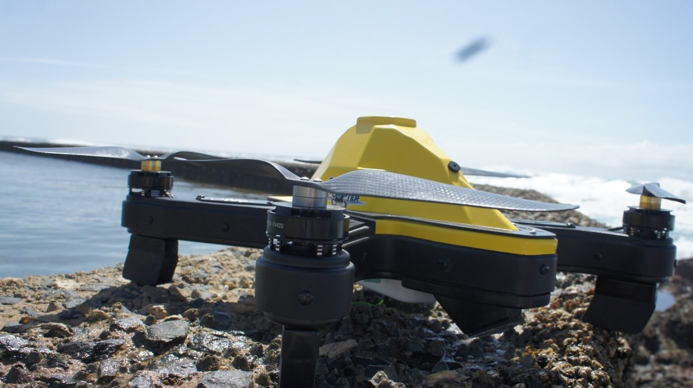 cuta-copter Ex-1 fishing on a rock