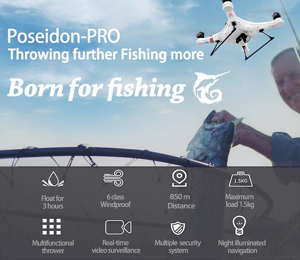 IDEAFLY Poseidon Pro RC Fishing Drone 850m 5G WiFi 1080P GPS Waterproof - Throwing Further Fishing More